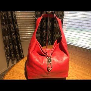 Dooney & Bourke Red  Belvedere Logo  Lock Hobo Bag